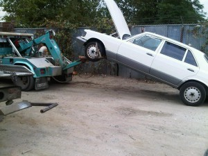 This Mercedes junk car is now ready for the auto recyclers.
